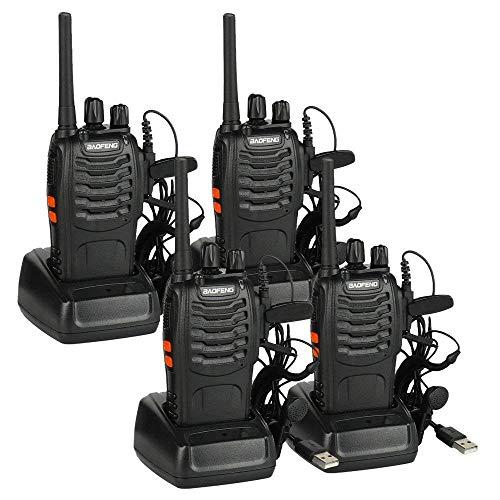 BAOFENG PMR Funkgerät, 16CH Walkie Talkie wiederaufladbar pmr-funksysteme, PMR4461500mAh Akku Handfunkgerät mit Headset, Lizenzfrei (2 Stücke) (4 Stücke)