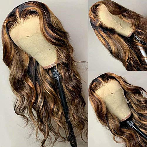 Highlight 4-27 Color Wavy Lace Front Wigs Human Hair 13X4 Brazilian Lace Front Human Hair Wigs Pre Plucked With Baby Hair For Women 150 Density 18 Inch
