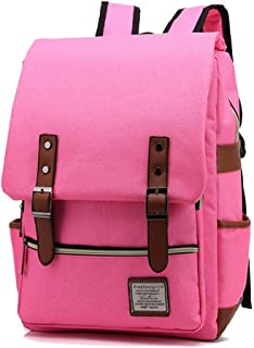"AINIBAB Unisex 15.6 inch Laptop Backpack Retro Casual Daypacks Outdoor Sports Stylish Travelling Canvas Rucksack Pink Pink 11.6""L x 17.2""H x 5.4"" W"