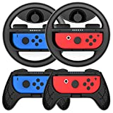 COODIO Volante y Grip Switch Joy-Con, Switch Joy-Con Racing Wheel Volante, Mandos Grip Joy-Con para Mario Kart Juegos / Joy-Con Mandos Nintendo Switch, Negro (Pack de 4 Deluxe)