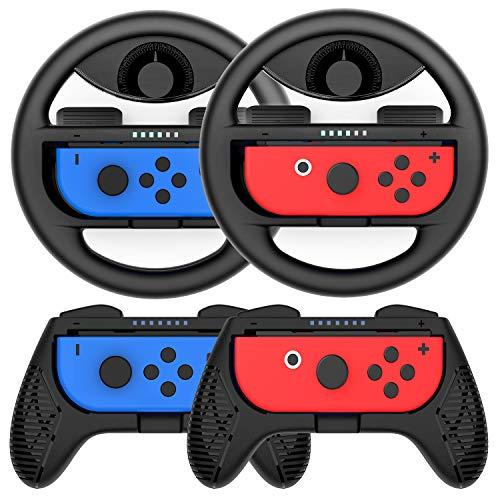 COODIO Volante y Grip Switch Joy-Con, Switch Joy-Con Racing Wheel Volante, Mandos Grip Joy-Con para Mario Kart Juegos / Joy-Con Mandos Nintendo Switch, Negro (Pack de 4 Deluxe)