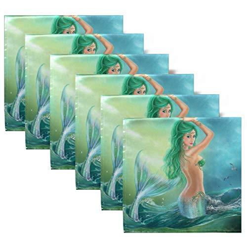 Servilletas de Tela Sirena Fantasía con Olas del océano Servilletas de Cena Juego de 6, Servilletas de Mesa Reutilizables para cócteles, Vacaciones, Bodas, hogar, decoración
