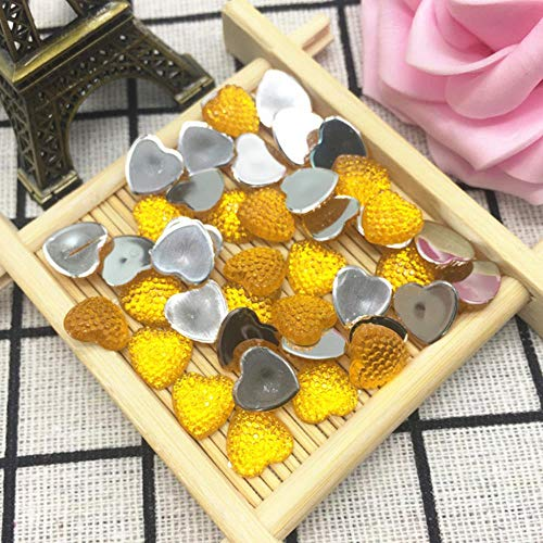 10 mm 50 pièces en forme de cœur à dos plat pour ongles nail art cristal ab colle sur non strass pour les ongles DIY accessoires de décoration ambre