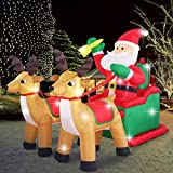 Fashionlite 8ft Christmas Inflatable Santa Claus on Sleigh with Two Reindeer & Gift Box Yard Decorations, LED Lights Blow Up Inflatables for Xmas Indoor Outdoor Home Garden Family Prop Lawn