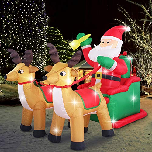 Fashionlite 8ft Christmas Inflatable Santa Claus on Sleigh with Two Reindeer & Gift Box Airblown Yard Decorations, LED Lights Blow Up Inflatables for Xmas Indoor Outdoor Home Garden Family Prop Lawn