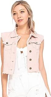 Womens Juniors Cotton Denim Blue Sleeveless Crop Jacket Jean Vest