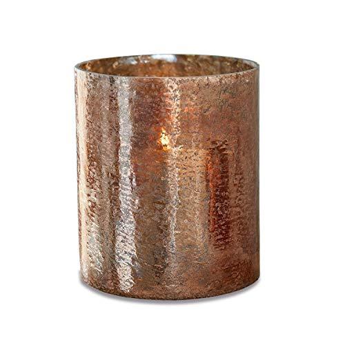 Loberon Windlicht Crookstown, Glas, H/Ø ca. 23/19 cm, braun