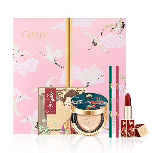 CATKIN Makeup Set Lipstick Eyeshadow Pallete Cushion Foundation Eyebrow Pencial Collection Xmas Gift