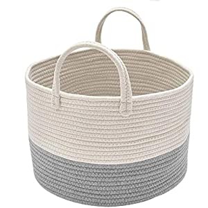 Spmor XXX-Large Storage Baskets Cotton Rope Basket Woven Baby Laundry Basket Sofa Throws Pillows Towels Toys or Nursery Cotton Rope Organizer Laundry Hamper with Handles 20″x15.7″x15.7″