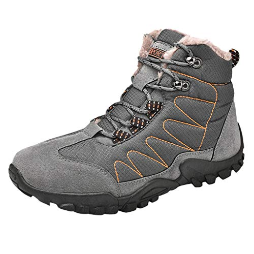 DAIFINEY Herren Winterstiefel Winterschuhe Stiefel Gefütterte Schneestiefel Mount Bona High Trekking Wanderschuhe Winter Outdoor Boots Winterstiefel Stiefelette(Grau/Gray,39