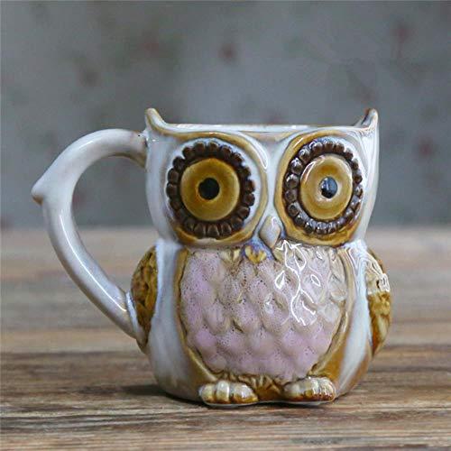 WERT Cute Cartoon Owl Cup 300ml Coffee Cup Ceramic 3D Animal Milk Tea Cup Breakfast Coffee Cup,C