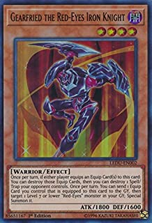 Yugioh 1st Ed Gearfried the Red-Eyes Iron Knight LEDU-EN002 Ultra Rare 1st Edition Legendary Duelists Cards