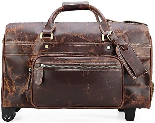 Bolsa de viaje de cuero retro de doble ruedas con ruedas Bolsa de trolley de gran capacidad,Brown