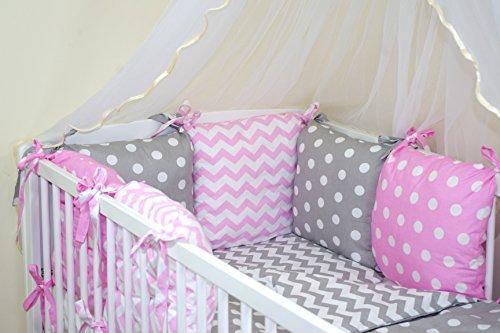 Parure de lit bébé ENSEMBLE DE 10 PIÈCES avec Tour de lit 6 coussins (couleurs 28-54) (41)