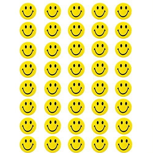 Oblique Unique® 40 Stück Gelbe Smiley Face Anstecker / Buttons mit Sicherheitsnadel hinten - kräftige Farben für Gute Laune