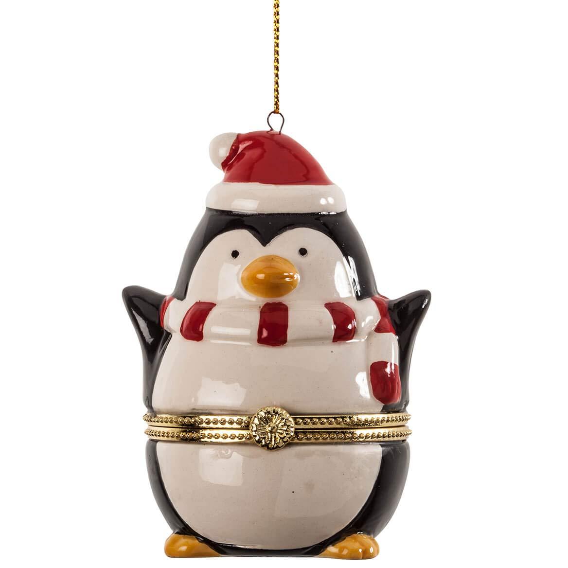 Image of Cute Penguin Christmas Trinket Box Ornament