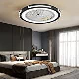 HHGM Ventilatore a Soffitto con Lampada Ventilatore da soffitto a LED Ultra-Silenzioso Creativa Moderna Plafoniera LED Ventilatore da Soffitto con Luce e Telecomando Dimmerabile,Nero
