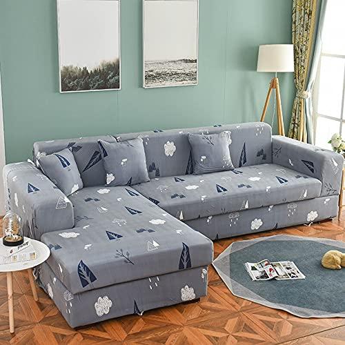 Funda elástica para sofá elástica seccional para sofá para Sala de Estar, Funda para sofá en Forma de L, Funda para sillón A15, 4 plazas