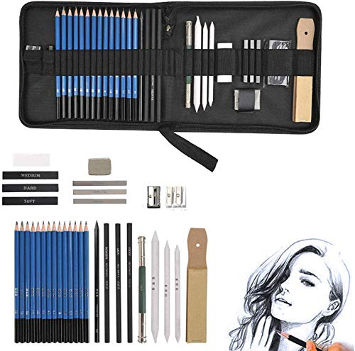 EEX 34 Pieces Drawing and Sketching Pencil Art Set, Professional Art Supplies Kit with Charcoal, Graphite Pencils, Erasers