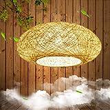 Lámpara colgante de bambú Lámpara colgante Lámpara colgante de mimbre tejida Lámpara colgante retro Lámpara colgante de mimbre tejida de bambú natural Lámpara de salón de té ajustable en altura