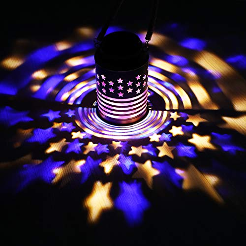 Solar Lantern Lights Outdoor American Flag Lights Waterproof Led Landscape Lighting Patriotic Decorations for Garden Patio Yard Porch Pathway