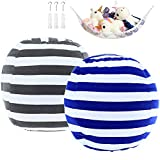 DeElf 2 Pack Stuffed Animal Storage Bean Bag Cover 23' for Kids Room DIY Bean Bag Chair Covers Only White Grey Blue Strips