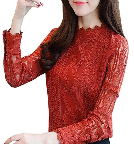 Putars Camisa de Trabajo de Encaje de Oficina de Rayas para Mujer Blusa de Manga Larga con diseño Floral…