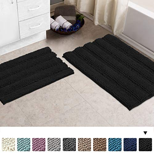 Turquoize Non Slip Shaggy Bathroom Rugs Black Bath Rugs for Bathroom Chenille Bath Rugs for Bathroom Sets 2 Piece Bath Mat Set Super Absorbent Shower Rug for Tub Mats, 20'x 32'& 17' x 24',Black