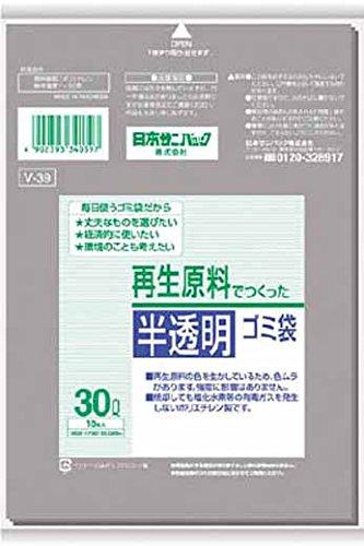 サニパック V-39再生原料でつくった半透明ゴミ袋30L V39GY