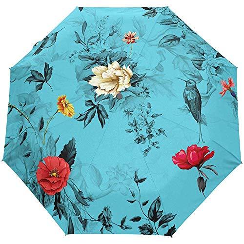 Weinlese-Blumengänseblümchen-Blumen-Selbstoffener Regenschirm-Sonnenregen-Regenschirm Anti-UV, der kompakten automatischen Regenschirm faltet