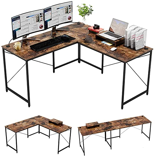 Bestier L Shaped Industrial Desk 95.2 Inch Reversible Corner Computer Desk or 2 Person Long Table for Home Office Large U Shaped Gaming Workstation with Monitor Stand and 3 Cable Holes, Rustic Brown