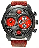 Banger Dualtime Red Black Chronograph for Men Double Temps Zwei Zonen Navigator Herrenuhr XL Atlas Modell mit 2 Uhrwerken Weltzeituhr Schwarz Silber mit Lederarmband Rote Kontrastnähte