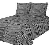 PHOENIX XXL 3D Biesen Design Modern Bettüberwurf Tagesdecke 260x280cm Überwurfdecke Farbe: Grau