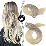 【Buy 2 Saving 6%】Moresoo 22' Skin Weft Remy Tape in Hair Extensions Dip Dye Extensions Color #18 Fading to #22 and #60 Blonde Tape in Extensions Human Hair 20PC/50G