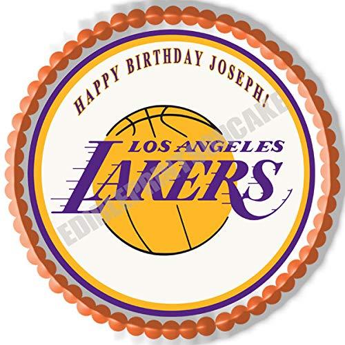 "Los Angeles LA Lakers - Edible Cake Topper - 7.5"" round"