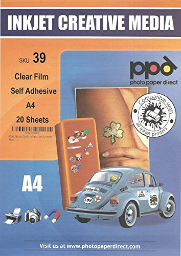 PPD DIN A4 Inkjet Bedruckbare Klebefolie Fensterfolie Glasfolie Dekofolie - Selbstklebend Transparent für Tintenstrahldrucker - Ideal für Folien-Etiketten, DIN A4 x 20 Blatt PPD-39-20