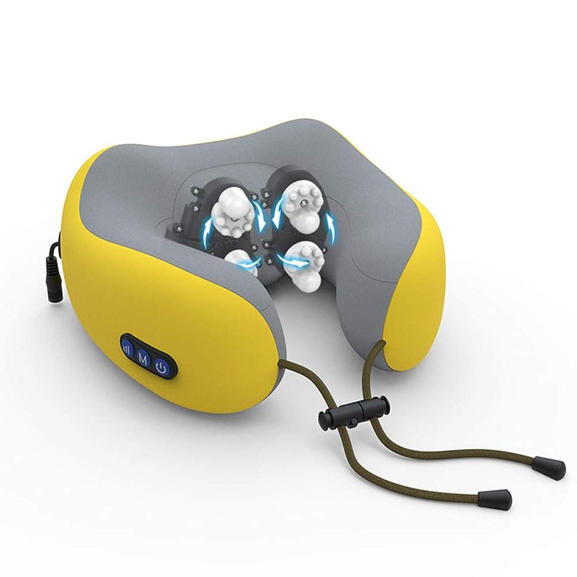 スキッパー医療過誤肥料指圧首と肩のマッサージャー、背中の肩のマッサージャー旅行マッサージ枕4つのモード練り組織マッサージ筋肉の痛みの緩和の緩和,イエロー