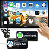 Car Stereo Compatible with Apple Carplay & Android Auto, Hieha 7 Inch Double Din Car Stereo with Bluetooth and Backup Camera, Touch Screen Car Radio with AM/FM, Voice Control, Mirror Link, A/V Input
