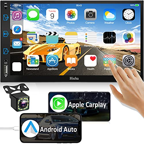Car Stereo Compatible with Apple Carplay & Android Auto, Hieha 7 Inch Double Din...