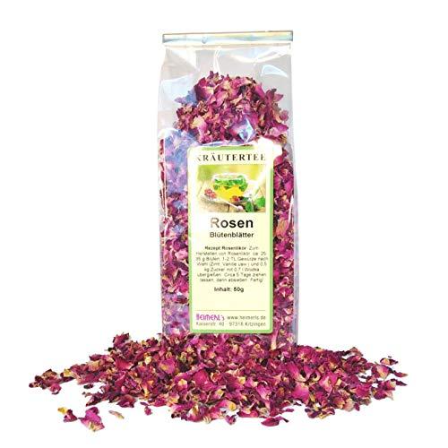 HEIMERLs Rosenblüten getrocknet 50g | Rosen rosa-rot | 1a Qualität mit herrlicher Farbe und intensiven Duft | Ideal für Tee, Rosensirup, Rosengelee und Rosenzucker