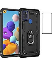 for Samsung A21s case with Screen Protector,360 Degree Rotation Ring Kickstand Military-Grade Heavy duty protection Shockproof Cover Work with Magnetic car Mount for Samsung Galaxy A21s case (Blue)