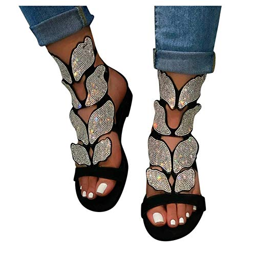 Sandals for Women Dressy,Women Gladiator Sandals Butterfly Flat Summer Strappy Crystal Open Toe Knee High Flat Sandal Black