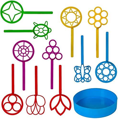 Neliblu Bulk Bubble Wand Set - Bubbles for Kids - Bubbles Wand Assortment - Party Favor Set of 11 Assorted Shapes and Colors Plus a Convenient Bubble Solution Tray