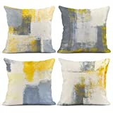 Emvency Set of 4 Throw Pillow Covers Yellow and Grey White Art Artwork Contemporary Decorative Gray Cushion Sofa Bedroom Car Decor Pillow Cases Home Decorative Square 18x18 Inches Pillowcases