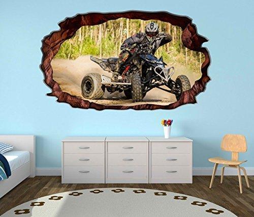 3D Wandtattoo Quad ATV Motorsport Racing outdoor selbstklebend Wandbild Tattoo Wohnzimmer Wand Aufkleber 11M253, Wandbild Größe F:ca. 97cmx57cm