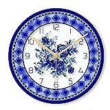 Wanduhr Einfache Kreative Wanduhr Blaue und weiße Porzellan Muster Mute Wanduhr Haushalt Runde Wanduhr für Haus Wohnzimmer Küche Schlafzimmer und Höhle (Color : A)