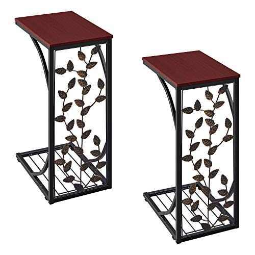 YAHEETECH End Tables for Living Room Set of 2, C Shaped Sofa Side Tables with Metal Frame Under Sofa, Industrial Side Tables Accent Tables with Leaf Pattern, Easy Assembly, Rustic Brown