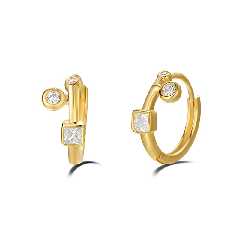Carleen 14K Yellow Gold Plated Sterling Silver Cubic Zirconia CZ Tiny/Mini Small Hinged Huggie Cartilage Hoop Earrings For Women Girls, Size 10-16mm