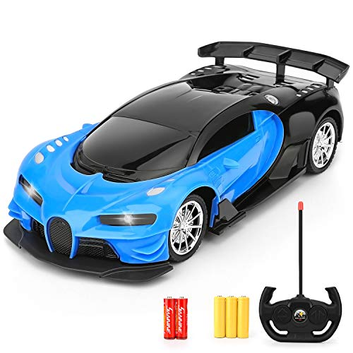 Remote Control Car - 1/16 Scale Electric Remote Toy Racing, with Led Lights High Speed Hobby Toy Car for Kid 3 4 5 6 7 8 9 Year Old Boys and Girls (Blue)