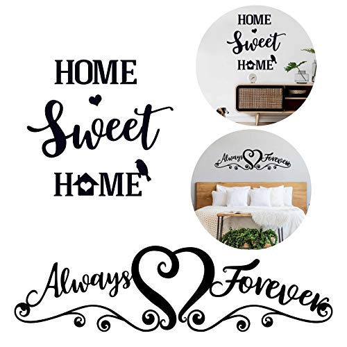 2 Ensembles Stickers Muraux Salon Citation Always Forever Home Sweet Home Autocollant Mural Texte pour Chambre Maison Bureau Décoration